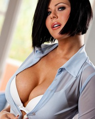 busts open her tight blue button-up top