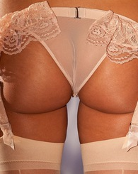 Nadia Aria takes her peach out her her peach lingerie